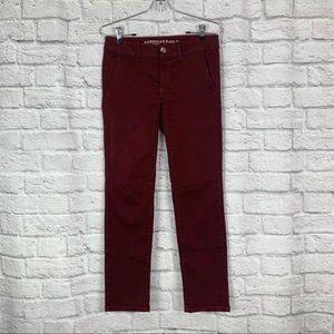 American Eagle Skinny Trouser Pant 2 Burgundy Red